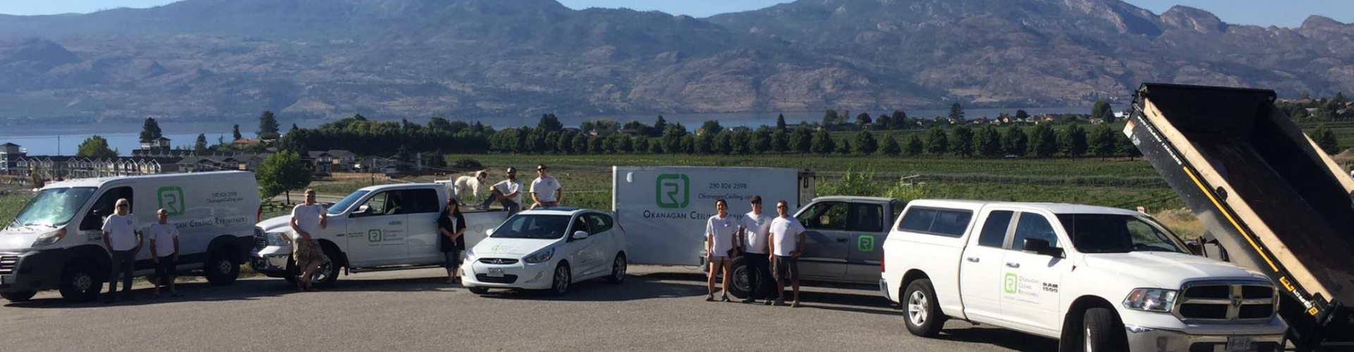 Fleet of Okanagan Ceiling Refinisher team that services Kelowna Peachland Lake Country and West Kelowna